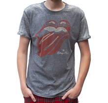 "Rockstarz T-shirt The Rolling Stones ""Burned Out Tongue"" Grijs"