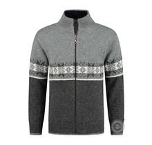Cardigan-coupe-vent scandinave en 100% pure laine par Norfinde, gris