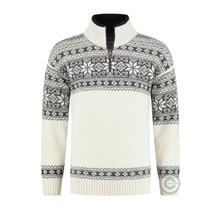 Norwegerr Pullover im Setesdals-Design aus 100% reiner Wolle, cremefarben