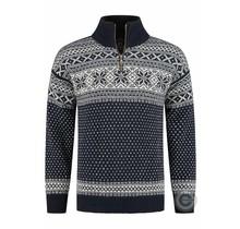 Pullover aus 100% reiner neuer norwegischer Wolle, dunkelblau