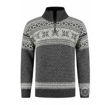 Pullover aus 100% reiner neuer norwegischer Wolle, dunkelgrau