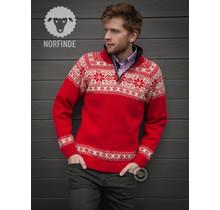 Pull norvégien au design Setesdals de 100% pure laine, Rouge
