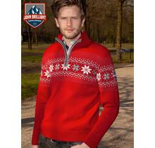 John Brilliant ® Norweger Herren Pullover Merino, Rot