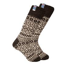 Noorse wollen sokken met een kleine geweven Ålandvlag, donkergrijs