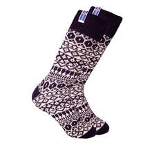 Chaussettes en laine norvégienne avec petit drapeau Åland tissé, bleu foncé