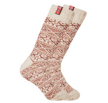 Norwegian wool socks with a small woven Norwegian flag, nature / red