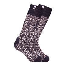 Noorse wollen sokken met een kleine geweven Finse vlag , donkerblauw