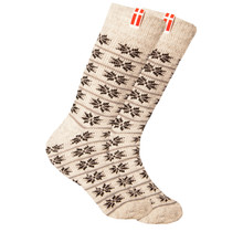 Norwegian wool socks with a small woven Danish flag, nature / navy
