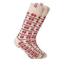 Chaussettes en laine norvégienne avec petit drapeau danois tissé, nature / rouge