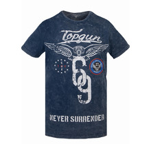 """Top Gun ® T-shirt """"Never Surrender"""" blauw"""