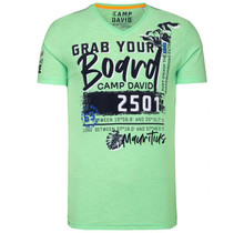 Camp David ® T-Shirt mit V-Neck und Artworks, Kiwi