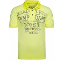 Camp David ® poloshirt van slubgaren met gebruikte prints