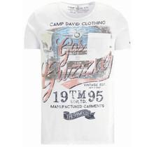 Camp David ® t-shirt met vintage print en borstzak