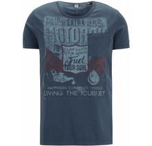 Camp David ® T-Shirt mit Vintage print und Tasche, Dunkelblau