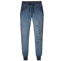 Sweatpants with glitter tape and print, dark blue