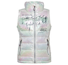 Soccx ® quilted vest with mother-of-pearl shimmer and prints