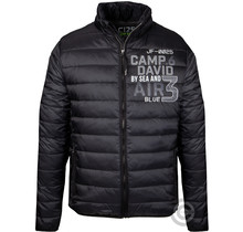 Camp David, Schwarz Steppjacke mit Logo Tapes und Artworks