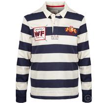 Weirdfish Bio-Baumwolle gestreiftes Rugby-Shirt, Marine