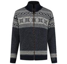 Cardigan aus 100% reiner norwegischer Schurwolle, dunkelblau