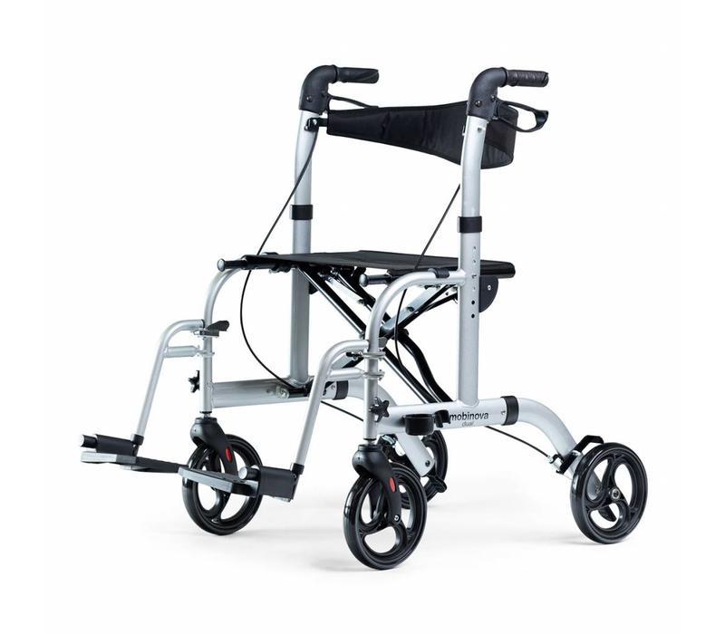 Rollator Mobinova  Dual, opvouwbaar, lichtgewicht, ook te gebruiken als transportstoel