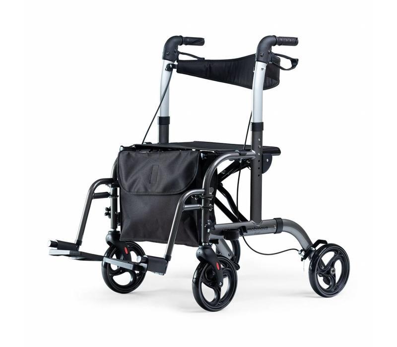 Opvouwbare Rollator Dual, tevens te gebruiken als (duw) rolstoel, (transportstoel)