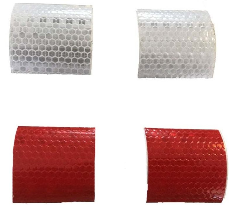 self adhesive retro-reflective stickers, 2x white and  2x red