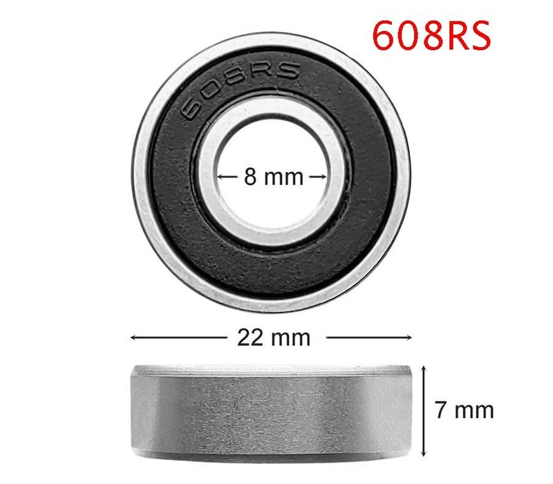 Set of 2 ball bearings (type 608RS), suitable for rollator wheels