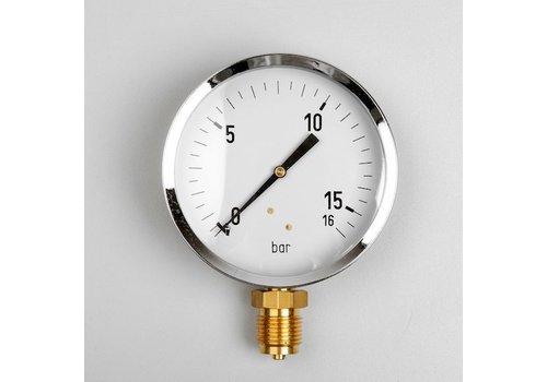 """Manometer GAS 0...400 mBar Gehäuse 100 mm Anschluss 1/2"""" unten"""