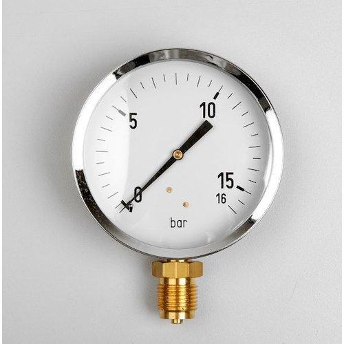 """Manometer Gas 0...250 mBar; kast 100 mm aansluiting 1/2"""" onder"""