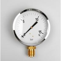 """Manometer Gas 0...600 mBar; kast 100 mm aansluiting 1/2"""" onder"""