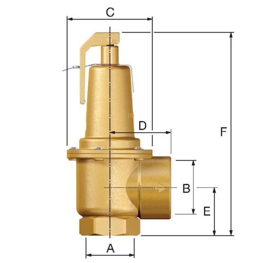 """Flamco Prescor S Sicherheitsventil 3 Bar 1.1/4"""" - 2"""" bi-2"""