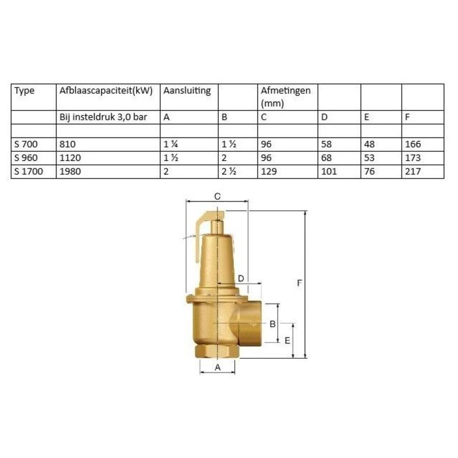 "Flamco Prescor S safety valve 3 Bar 1.1/4"" t/m 2""-4"