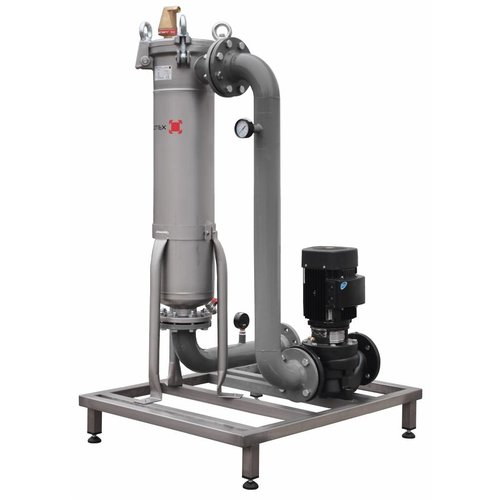 Sotex slib stream filter with pump and pipework on frame SFU+