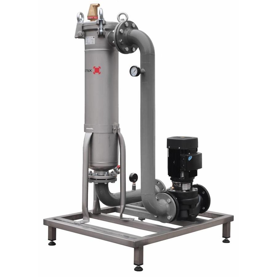 Sotex slib stream filter with Grundfos pump and pipework on frame SFU+-2