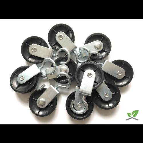 Verzinkte katrol met wartelhaak / diameter schijf 50mm (per 10 stuks).
