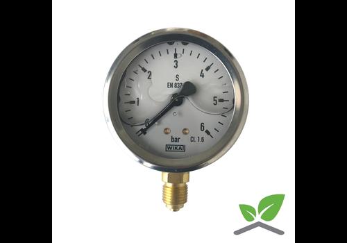 "Manometer 0...6 Bar; Glyzerin gefüllt Gehäuse 60 mm Anschluss 1/4"" unten"