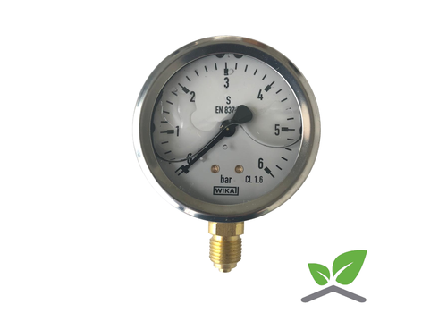 """Manometer 0...6 Bar; kast 60 mm aansluiting 1/4"""" onder  Glycerine gevuld"""