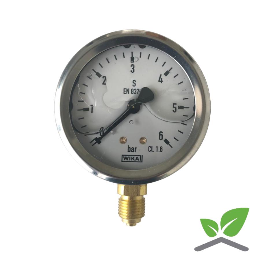 """Manometer 0...6 Bar; kast 60 mm aansluiting 1/4"""" onder  Glycerine gevuld-1"""