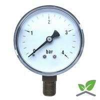 """Manometer 0...4 Bar; kast 60 mm aansluiting 1/4"""" onder"""