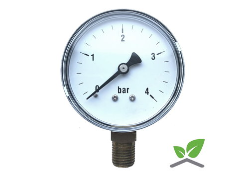 "Manometer 0...4 Bar; kast 60 mm aansluiting 1/4"" onder"