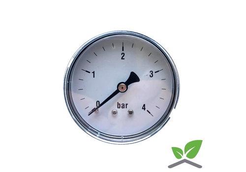 """Manometer 0...4 Bar; kast 60 mm aansluiting 1/4"""" achter"""
