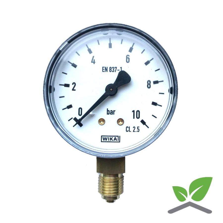 """Manometer 0...10 Bar; kast 60 mm aansluiting 1/4"""" onder-1"""