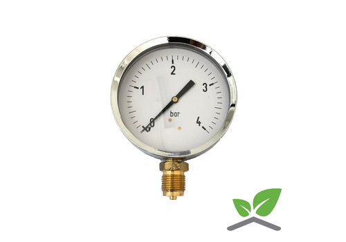 """Manometer 0...4 Bar; kast 100 mm aansluiting 1/2"""" onder"""