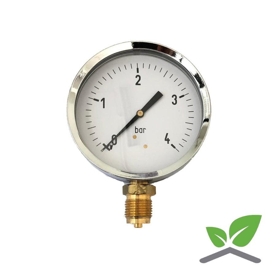 """Manometer 0...4 Bar; kast 100 mm aansluiting 1/2"""" onder-1"""
