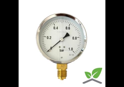 """Manometer 0...1 Bar; Gehäuse 100 mm Anschluss 1/2"""" unten"""