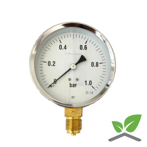 "Manometer 0...1 Bar; case 100 mm connection bottom 1/2"""