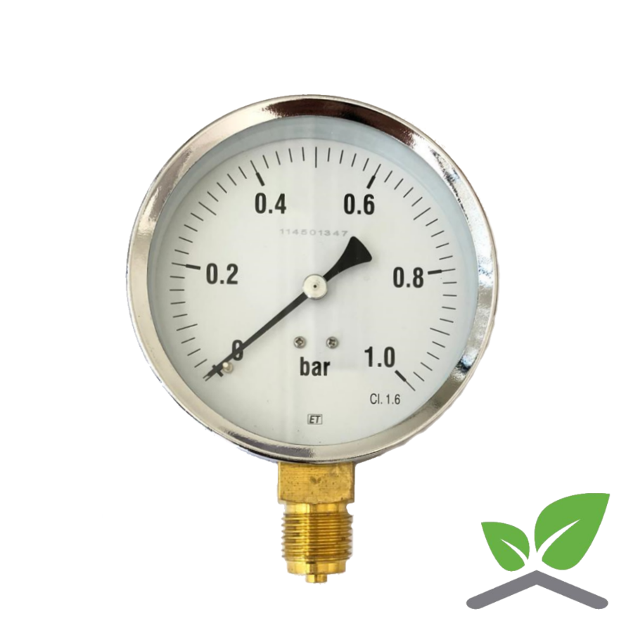 "Manometer 0...1 Bar; kast 100 mm aansluiting 1/2"" onder-1"