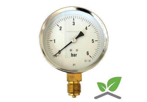 "Manometer 0...6 Bar; kast 100 mm aansluiting 1/2"" onder"