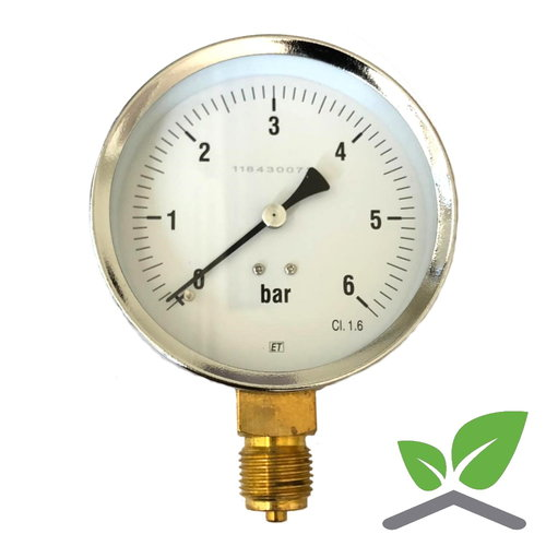"Manometer 0...6 Bar; case 100 mm connection bottom 1/2"""