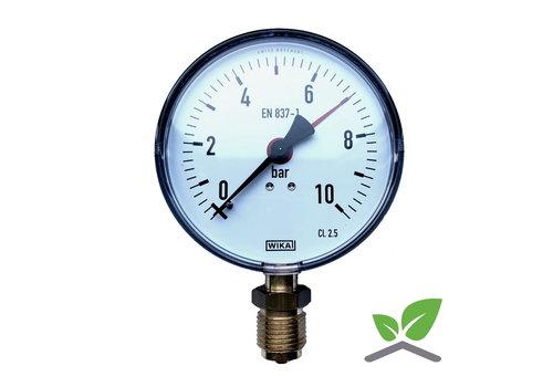 """Manometer 0...10 Bar; kast 100 mm aansluiting 1/2"""" onder"""